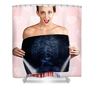 Romantic Woman In Love With Butterflies In Tummy Shower Curtain