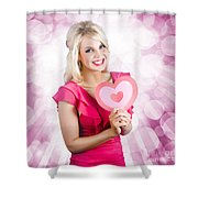 Romantic Woman With Heart Shape Valentine Card Shower Curtain