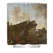 Rome. A View Of The Ponte Rotto Shower Curtain