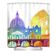 Rome Landmarks Watercolor Poster Shower Curtain