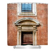 Rome Windows And Balcony Textured Shower Curtain