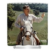 Ronald Reagan On Horseback  Shower Curtain