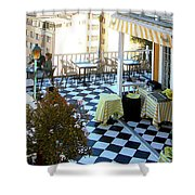 Rooftop Cafe Shower Curtain by Karen Zuk Rosenblatt