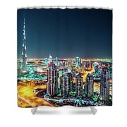 Rooftop Perspective Of Downtown Dubai Shower Curtain