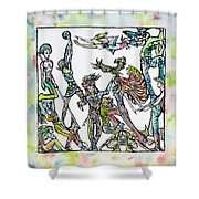 Room Of The Playing Friends Shower Curtain