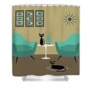 Room With Dark Aqua Chairs Shower Curtain
