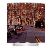 Roosevelt Avenue Red Shower Curtain
