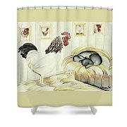 Rooster And Cat Shower Curtain