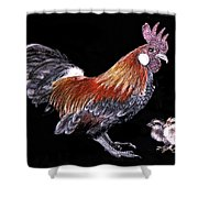 Rooster And Chicks Shower Curtain