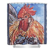 Rooster Country Painting On Blue  Shower Curtain