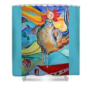 Rooster Crows -- Joy Arising Shower Curtain