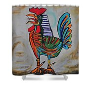 Rooster Picasso Shower Curtain