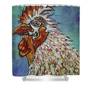 Rooster Visit Shower Curtain
