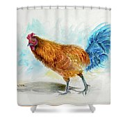 Rooster Watercolor Shower Curtain