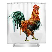 Rooster Watercolor Painting Shower Curtain