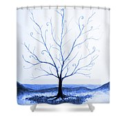 Roots Of A Tree In Blue Shower Curtain