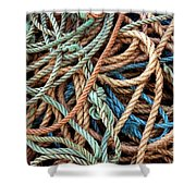 Rope Background Shower Curtain by Carlos Caetano