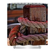 Rope On Wood Shower Curtain