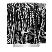 Ropes For The Rigging Bw 1 Shower Curtain