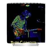Saturated Blues Rock With Text Shower Curtain