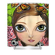 Rose Amongst The Butterflies Shower Curtain