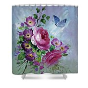 Rose And Butterfly Shower Curtain