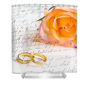 Rose And Two Rings Over Handwritten Letter Shower Curtain