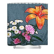 Rose Baby Breath And Lilly Shower Curtain