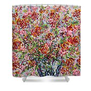 Rose Bouquet In Glass Vase Shower Curtain