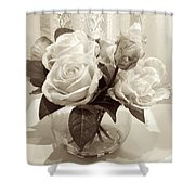 Rose Bouquet In Vinatage Shower Curtain