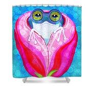 Rose City Rain Frog Shower Curtain