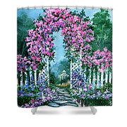 Rose-covered Trellis Shower Curtain