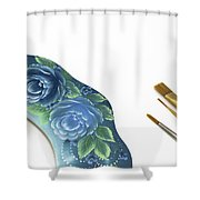 Rose Drawing On Wreath, Tole And Decorative Painting, American S Shower Curtain