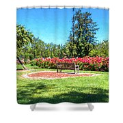 Rose Garden Benches Impressionist Digital Painting Shower Curtain