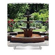 Rose Garden Fountain Shower Curtain