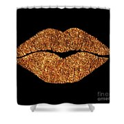 Rose Gold Texture Kiss, Lipstick On Pouty Lips, Fashion Art Shower Curtain