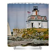 Rose Island Light Shower Curtain by Susan Cole Kelly