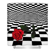 Rose On Black And White #0073 Shower Curtain