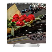 Harley Davidson And Roses Shower Curtain