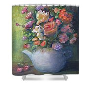 Rose Petal Tea Pot Shower Curtain