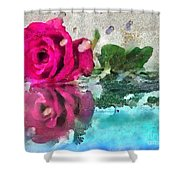 Rose Reflected Fragmented In Thick Paint Shower Curtain