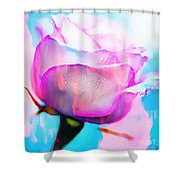 Rose Soft Pink Silked In Thick Paint Shower Curtain