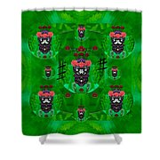 Rose Sugar Skull In Fern Garden Shower Curtain