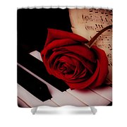 Rose With Sheet Music On Piano Keys Shower Curtain