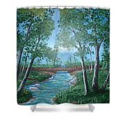 Roseanne And Dan Connor's River Bridge Shower Curtain