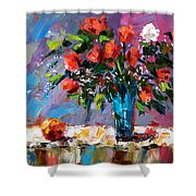 Roses And A Peach Shower Curtain
