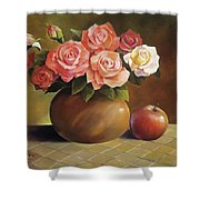 Roses And Apple Shower Curtain by Han Choi - Printscapes
