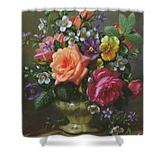 Roses And Pansies Shower Curtain