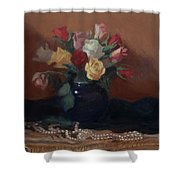 Roses And Pearls Shower Curtain