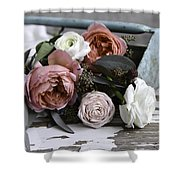 Roses And Rust Shower Curtain